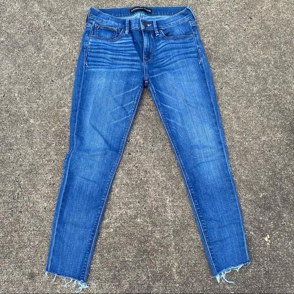 Express Women Mid-Rise Ankle Raw Hem Skinny Jeans